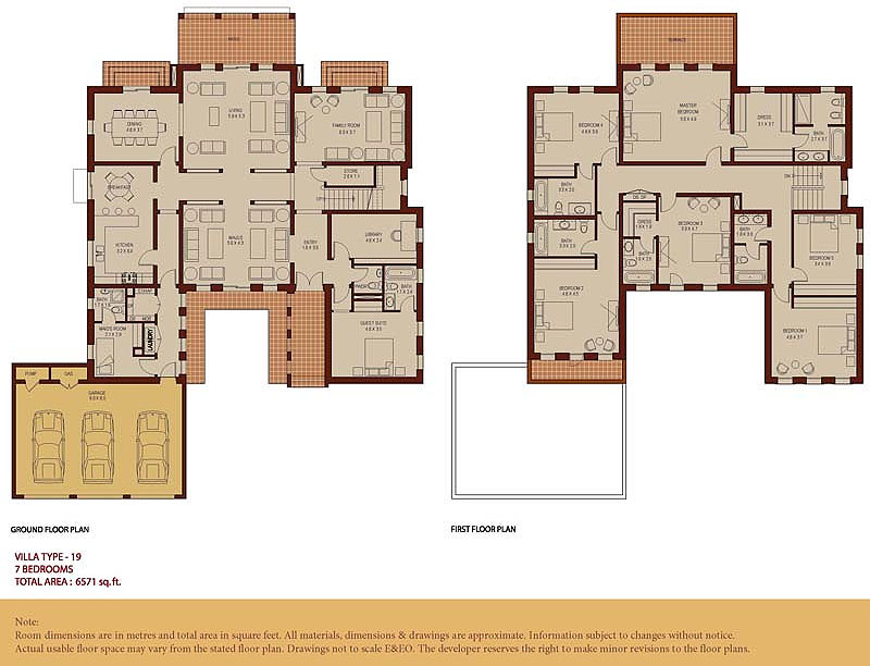 villa type 19 7 bedrooms - 4 Bedroom House Plans One Story For 2 Acres
